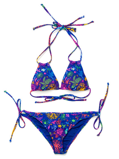 Isabel and Ruben Toledo triangle bikini top and bottom, $17.99 each.