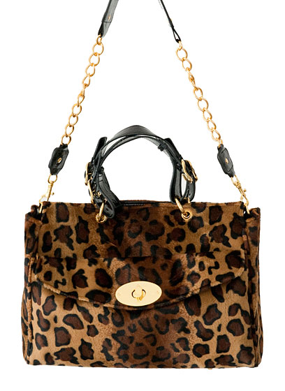 Retro animal print handbag, $80.