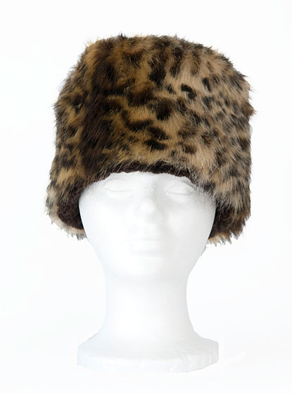 Faux fur animal print hat, $25.50.
