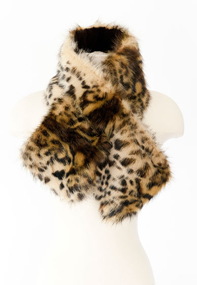 Faux fur animal print scarf, $32.75.