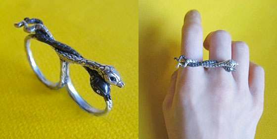 "Hiss two-finger snake ring, $140 at <a href=""http://nymag.com/listings/stores/old-hollywood/"">Old Hollywood</a> or <a href=""http://shop.oldhollywoodmoxie.com/products/hiss-two-finger-snake-ring"">online</a>."