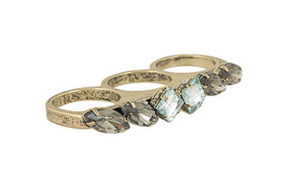 "Forever 21 Crystalline Connector ring, $5.80 at <a href=""http://nymag.com/listings/stores/forever_2101/"">Forever 21</a> or <a href=""http://www.forever21.com/product.asp?catalog_name=FOREVER21&category_name=acc_rings_pins&product_id=1078546562&Page=all&pgcount=25"">online</a>."