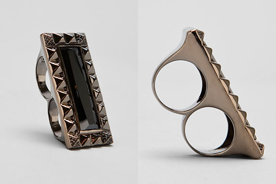 "Noir double ring, $118 <a href=""http://www.revolveclothing.com/DisplayProduct.jsp?product=NOIR-WA78&c=Jewelry&s=C&d=a&sc=Rings"">online</a>."