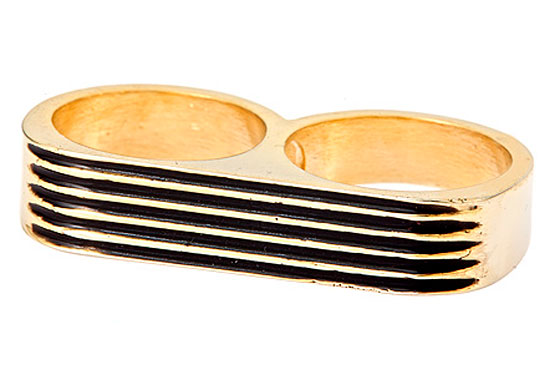 "Erica Anenberg black striped twosome ring, $90 <a href=""http://www.maxandchloe.com/fulldetails/4166/32,36"">online</a>."