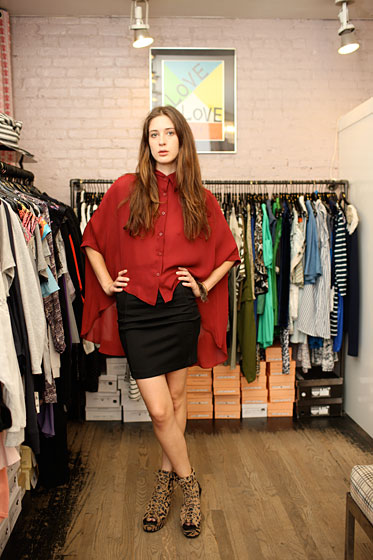 "Sales associate Meghan Lavery paired the body-con BCBG skirt with a sheer, floaty Shape Shiftr blouse ($187 <a href=""http://www.pixiemarket.com/store/silkgeorgettetailblouse-p-2082.html"">online</a>). She also dressed Coco Young in a Daydream Nation leather and fur cuff ($99 <a href=""http://www.pixiemarket.com/store/silkgeorgettetailblouse-p-2082.html"">online</a>) and peep-toe, leopard-print wedges from Shakuhachi ($440 <a href=""http://www.pixiemarket.com/store/leopardsuedeplatformwedge-p-2036.html"">online</a>)."