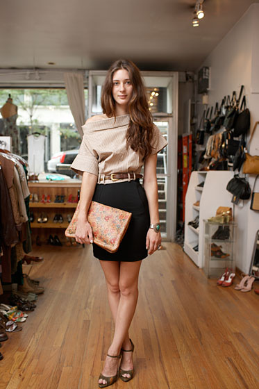 Owner Edith Machinist and sales associate Kim Lease descended upon Coco with armloads of vintage shoes and bags. Eventually, they settled on a sweet floral eighties clutch from Laura Biagiotti ($180) and vintage Ferragamo heels ($235), paired with a forties cotton top ($145), vintage belt ($75), sixties sterling-silver cuff ($305), and sixties sterling-silver ring ($255).