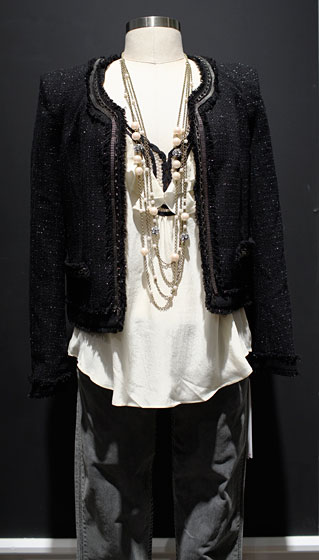 Plastic Island tweed jacket, $216; Jaloux top, $84; skinny twill Hudson Jeans, $189; Honey & Hive four-strand pearl chain fireball necklace, $34.