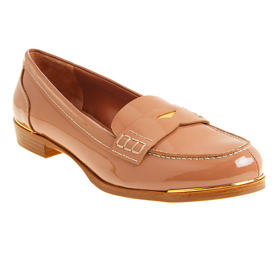"Miu Miu patent leather penny loafers, $550 <a href=""http://www.barneys.com/Patent%20Leather%20Penny%20Loafer/500634299,default,pd.html"">online</a>."