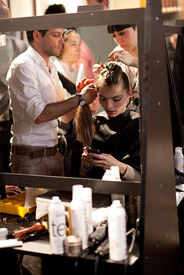 Backstage at the Gabriele Colangelo Fall 2011 show.