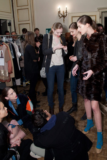 Backstage at the Massimo Rebecchi Fall 2011 show.