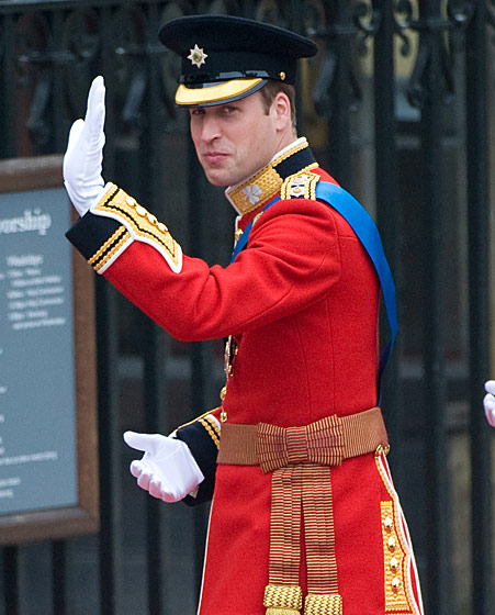Prince William in a ceremonial uniform for Colonel of the Irish Guards in the British Army.