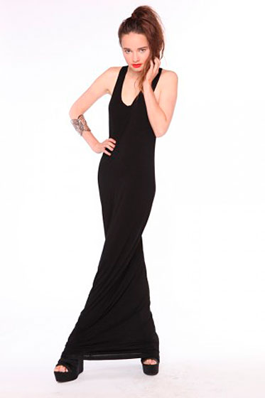 "Nasty Gal To The Max maxi dress, $58 <a href=""http://www.shopnastygal.com/products/new/clothing/dresses/To-The-Max-Dress-%252d-Black.html"">online</a>."