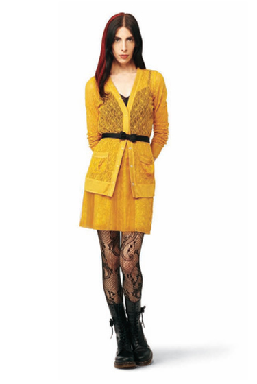 Lace Cardigan in mustard: $29.99.<br>