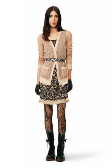 Lace-Print Dress in tan: $34.99.<br>