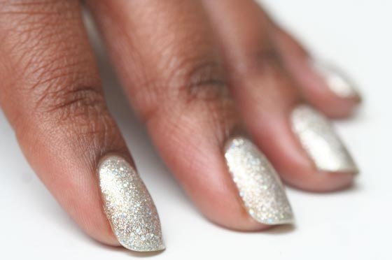 The glitter is dense, but this manicure only required two coats of TiNS polish ($13 at Sakura Nail Spa, 1709 Second Ave., nr. 88th St.; 212-722-1334).