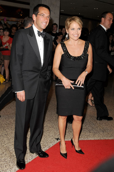 How do you know Katie Couric's not going to work? The jewel-encrusted neckline, <em>hello?</em> Perhaps she scavenged that from one of Miley Cyrus's many encrusted gowns.