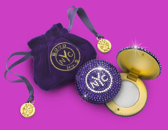 Bond No. 9's Swarovski solid perfume token compact comes tricked out with 750 crystals and can be filled with any of your favorite Bond scents ($300,