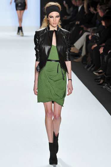 Look, a color! Thank God! This green dress is awesome — we'd like to see it without the leather jacket on top.  Nina loves it, BTW.