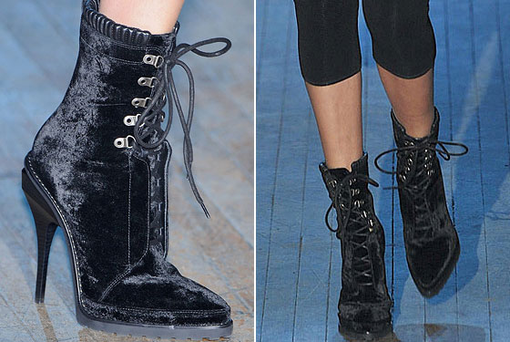 "<a href=""http://nymag.com/fashion/fashionshows/2009/fall/main/newyork/womenrunway/alexanderwang/"">Alexander Wang's</a> velvet lace-up boots are a little bit sweet, and very much rock and roll."