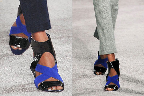 "By all indications, sandals are the ""It"" shoe for fall. Weather be damned! <a href=""http://nymag.com/fashion/fashionshows/2009/fall/main/newyork/womenrunway/jasonwu/"">Jason Wu</a> mixes textures and colors with these dual-tone flats."