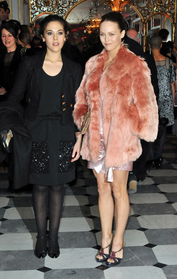 Vanessa Paradis attended with her sister Alyson. If we were Alyson, we'd be feeling up Vanessa's coat all night. It begs to be petted.