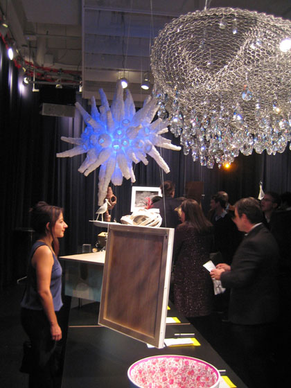Here's a larger view of the Design Trust event; the large crystal piece hanging in the front is by Cao/Perrot Studio, and the one behind is by Hariri & Hariri Architecture.