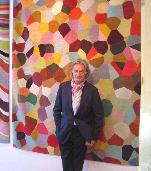 Hello, Sir Paul Smith, in front of one of his new rugs at the Rug Company in Soho at 88 Wooster Street. He is an inspiration — talented, and so nice.