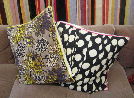 And here is a selection of some of his fantastic new pillows; it's all at the Rug Company.