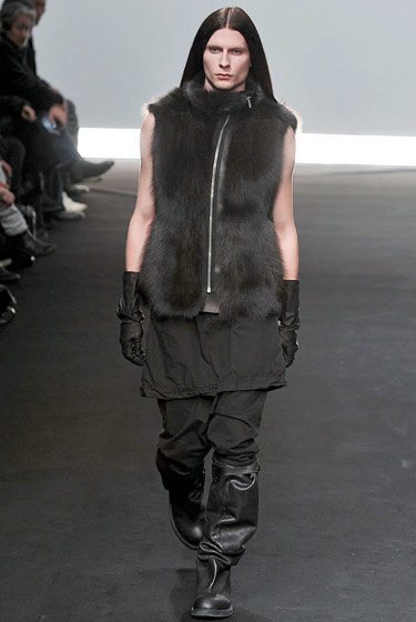 Rick Owens's model may look tough, but his vest is soft enough to make us give him a hug.