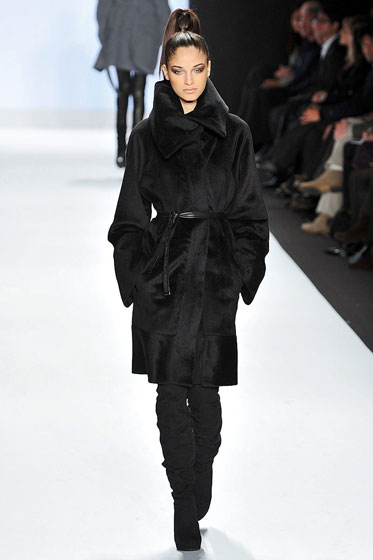 A lovely black coat, but where's the wow factor, Irina? Wow factor!