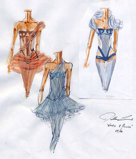 Sketches of Jillian's designs for Brian Reeder and Pam Tanowitz's new work, <em>A Two-Part Affair</em>.