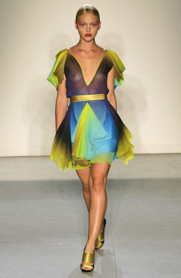 Jonathan Saunders goes for a colorful, sheer dress.