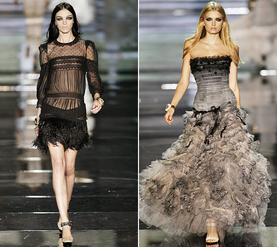 Sheer and fringe, left. And a gorgeous Cavalli gown at right.