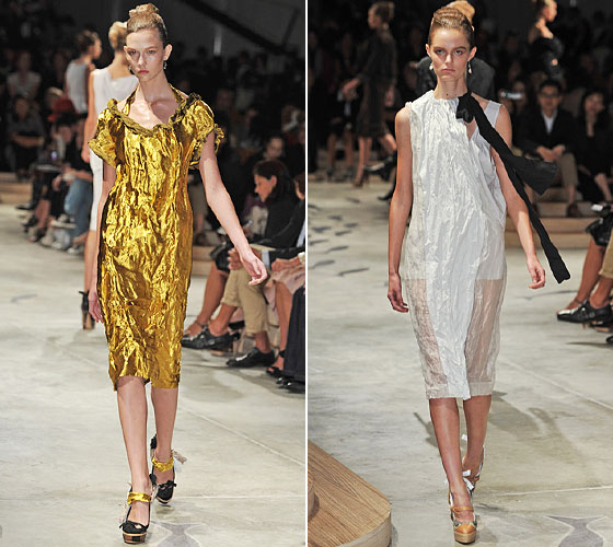 Leave it to Prada to bring us sheer and shine in ways that make us want to wear them.