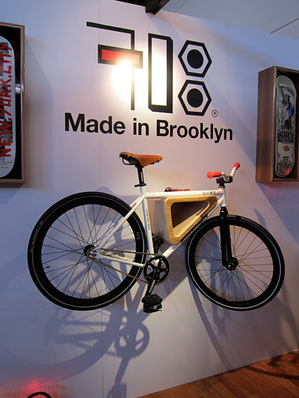 718 Made in Brooklyn launched its new company at the show. They offer good-looking and practical ways to store urban staples like bikes and skateboards.