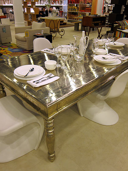 At Conran's I spotted this Indian rosewood Kaveri baroque table with a veneer of white metal alloy that added a soft silver sheen. Very nice!