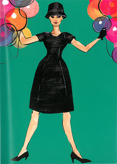 When Smith was studying in Paris, her godmother, Doris, sent her this black raw silk sixties Dior frock.