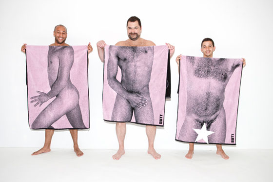 The <em>BUTT</em> boys model one another's towels.