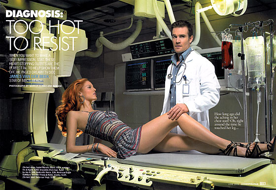 James Van Der Beek plays a doctor seducing his patient in this editorial. However, the idea of a doctor just taking his patient from the operating table doesn't appeal to us, nor does the ending of this spread, in which the Beek and his love interest get wild in the room containing all the medical records. Hospitals should be sex-free.