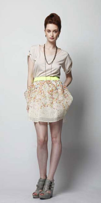 Beaded T-strap shirt, $98; beaded dots organza skirt, $275.