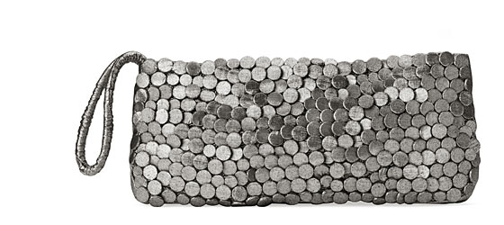This metallic clutch was constructed using more than 600 silvery plastic buttons. It retails for $175.