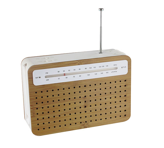 This AM/FM portable radio (with mp3 amplifier!) loves the earth as much as we love it: The body is made of renewable bamboo and environmentally friendly PLA plastic, and can be powered via hand-cranking. It retails for $80.