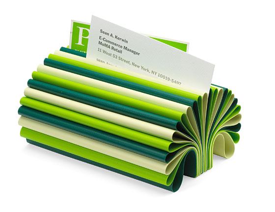 This colorful business card organizer was made in Japan using sheets of PVC. It retails for $24.