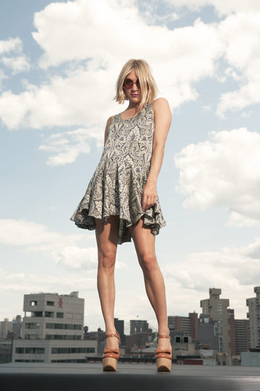 Lissy boxy swing dress in paisley; Chloë Sevigny for Opening Ceremony Mary Janes.