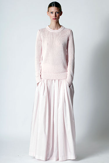 "This silk taffeta skirt from <a href=""http://nymag.com/fashion/fashionshows/2011/resort/main/newyork/womenrunway/michaelkors/"">Michael Kors</a> is the prettiest dusty-pale color."