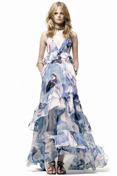 "This flowy <a href=""http://nymag.com/fashion/fashionshows/2011/resort/main/newyork/womenrunway/pucci/"">Pucci</a> gown reminds us of fashion icon Talitha Getty. It makes for a very easy summer look."