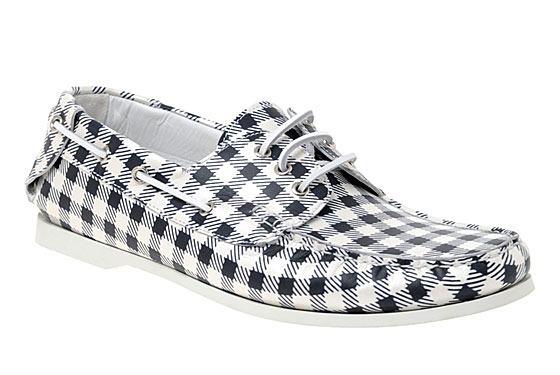 "Vivienne Westwood gingham deck shoes, $456.54 <a href=""http://www.asos.com/Vivienne-Westwood/Vivienne-Westwood-Deck-Shoes/Prod/pgeproduct.aspx?iid=960440&cid=4209&sh=0&pge=3&pgesize=200&sort=-1&clr=Cream%2fNavy"">online</a>."
