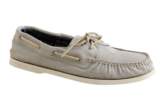 "Sperry Top-Sider Broken-In chino boat shoes, $118 at <a href=""http://nymag.com/search/search.cgi?t=business_shopping&N=0&No=1&listing_id=618"">J.Crew</a> or <a href=""http://www.jcrew.com/AST/Browse/MensBrowse/Men_Shop_By_Category/shoes/boatshoes/PRDOVR~24471/24471.jsp"">online</a>."