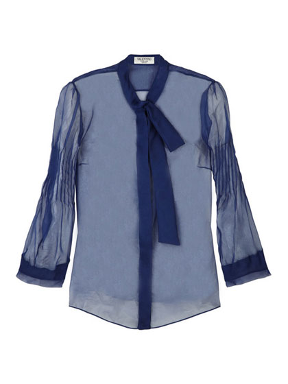 "Valentino sheer silk blouse, $438 <a href=""http://www.theoutnet.com/product/74346?cm_mmc=LinkshareUS-_-Custom-_-Link-_-Builder&siteID=J84DHJLQkR4-Q0QOOmJasrZqdYmMb_Ko.A#"">online</a>."