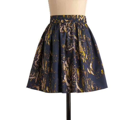 "By the Riverbed skirt, $49.99 <a href=""http://www.modcloth.com/store/ModCloth/Womens/Bottoms/By+the+Riverbed+Skirt"">online</a>."